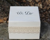 Wedding Ring Pillow Box, Ring Bearer Box Stamped We Do, Lace Wraped,  Rustic, Woodland, Shabby Chic Weddings