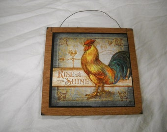 rise and shine rooster Wooden Kitchen Wall Art Sign Country Decor farm