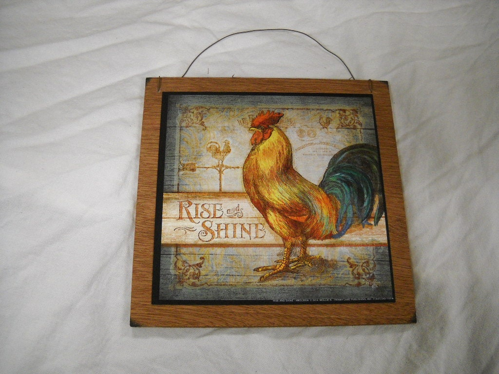Wooden Kitchen Wall Decor : Rise and shine rooster wooden kitchen wall art sign country