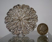 """Vintage Brooch Sterling Silver Filigree with a Flower Design Brooch Pin Nice Quality Breastpin Jewelry 53 mm (2.1"""") DanPickedMinerals"""