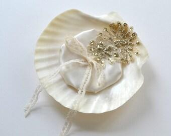 seashell wedding ring bearer pillow, gold lace, ivory silk satin, vintage lace trim, ocean wedding,  alternative wedding ring pillow