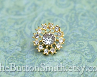 5 to 20 small Crystal Rhinestone Buttons (15mm) RS-003 in Gold Finish - Perfect for crafts wedding embellishments napkin rings  hair comb