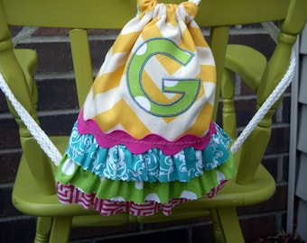 Personalized Drawstring Backpack with Ruffles and Monogram - Yellow Chevron - Toddler Backpack