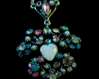 Demi Parure, Necklace & Screwback Earrings, Rhinestones, Seed Pearls, Moonstone