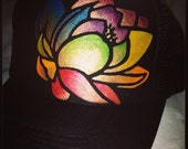 Black trucker with hand painted chakra lotus
