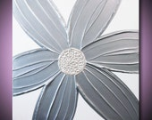 Silver Painting Flower Metallic Grey Gray, Pearlescent White - Sculptural Abstract Acrylic - 24x24 High Quality Original Fine Art