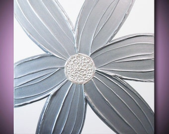 Painting Silver Flower Metallic Grey Gray Pearlescent White Sculpture Abstract Acrylic 24x24 High Quality Original Fine Art