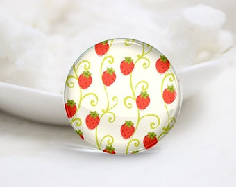 10mm 12mm 14mm 16mm 18mm 20mm 25mm 30mm Handmade Round Photo Glass Cabochon-Strawberry (P1425)