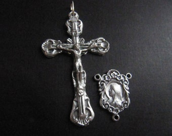 Beautiful Ornate Italian Made Crucifix with Matching Ornate Madonna Reversible Rosary Center - 1 pair
