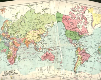 1940s Antique WORLD Map of the World blue pink 1900s atlas regions Map