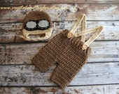 Baby Crochet Hat and Suspenders, Baby Aviator Hat in Taupe and Light Brown, Photo Prop, Baby Hat, Boy Hat, Newborn Hat