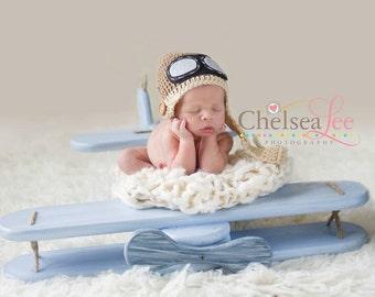 Newborn Hat, Baby Aviator Hat in Taupe and Light Brown, Photo Prop, Baby Hat, Boy Hat, Boy Beanie, Newborn Hat