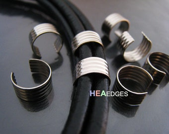 Finding - 6 pcs Silver Plated Smallest  Adjustable Crimp Round Tone Tube Curve Fold Over End Cap without Loop 10mm x 5mm