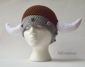 Viking hat-Brown and grey with white horns-Made to order-Newborn to adult