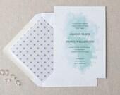 Watercolor Wedding Invitation. Mint & Black Wedding Stationery. Modern Painted Invitation. Fresh, Elegant Wedding Invites in Black and Mint.
