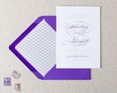 Elegant Script Wedding Invitations. Purple & Grey Wedding Stationery. Formal Wedding Invites in Flat Print. Grey and Purple Wedding Invites.