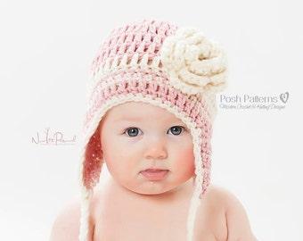 Crochet PATTERN - Easy Earflap Crochet Hat Pattern - Crochet Hat Pattern - Baby, Toddler, Kids, Adult Sizes - Photo Prop Pattern - PDF 120