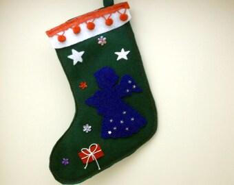 Angel Christmas Stocking for your little girl, green felt