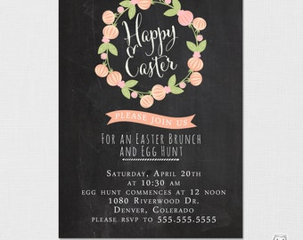 Easter Egg Hunt Invitation, Easter Invitation, Easter Party, Easter Hunt, Easter Brunch, Printable