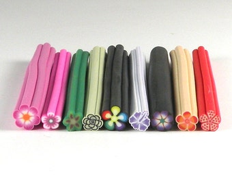 Unique Flower Bundle 9 Pack of Fimo Canes for Nail Art or Scrapbooking (UFB)
