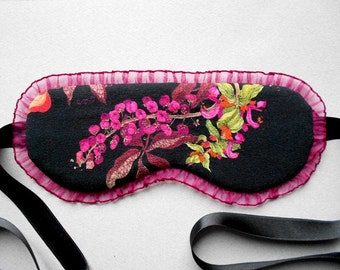 Botanical Eye Mask / Satin Sleep Mask with Burgundy Organza Frill / Summer Vacation Accessory / Handmade