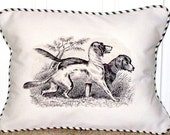 "shabby chic, feed sack, french country, vintage hunting dog graphic with ticking stripe  welting 12"" x 16"" pillow sham."
