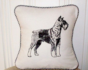 """shabby chic, feed sack, french country, vintage Schnauzer with gingham  welting 14"""" x 14"""" pillow sham."""