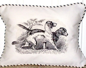 """shabby chic, feed sack, french country, vintage hunting dog graphic with ticking stripe  welting 12"""" x 16"""" pillow sham."""
