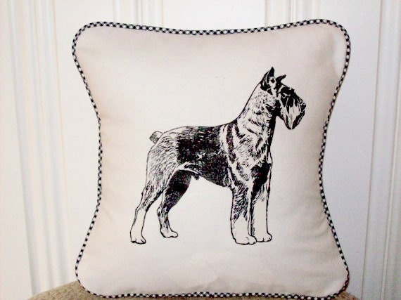 "shabby chic, feed sack, french country, vintage Schnauzer with gingham  welting 14"" x 14"" pillow sham."