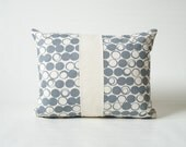 Slate Gray Patchwork Pillow Cover in Hand Screen Printed Geometric Design 18x14""