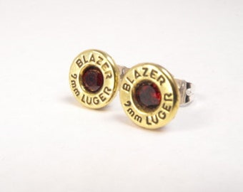 Bullet earrings brass and garnet post earrings