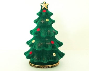 Small 1950's Christmas Tree - Bank or Figurine - for Display or Money or Notes to Santa - Kitsch Mid Century Christmas Decoration