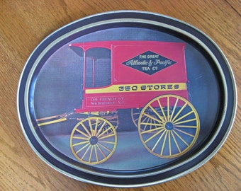 Metal A&P Tray with Horse Drawn Carriage - Vintage Advertising - Country Farmhouse Kitchen Decor - Americana Decor