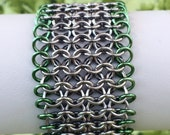 Gunmetal and Moss Green Edged Chainmaille Cuff - Ready to Ship - Fast Shipping