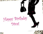 Birthday Diva Card girlfriend sister wife best friend gift Pink Black silhouette happy greeting