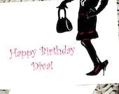 Birthday Diva Card girlfriend sister wife best friend gift Pink Black silhouette happy greeting