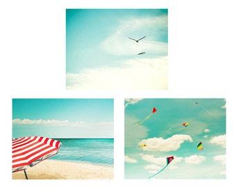 beach photography ocean set summer photography 8x10 fine art photography birds kites photography pastel aqua blue coastal decor nursery teal