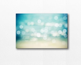 beach canvas art bokeh photography canvas nautical decor 12x18 fine art photography canvas gallery wrap abstract canvas coastal aqua blue