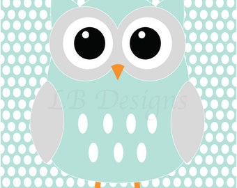 Owl Nursery Art, Gender Neutral Nursery Decor, Aqua and Gray Nursery, Woodland Nursery Print - 8x10