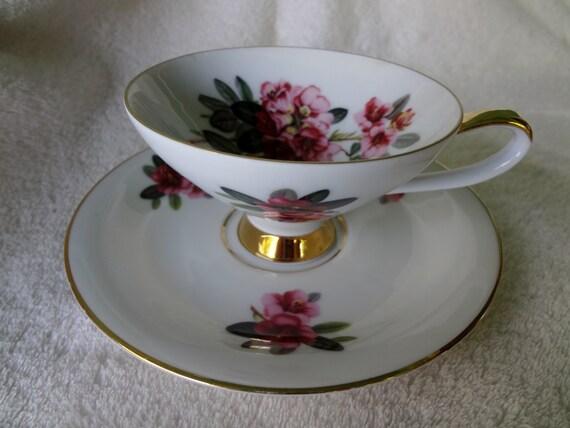 Vintage Seltmann Bavaria Teacup and Saucer with Azaleas