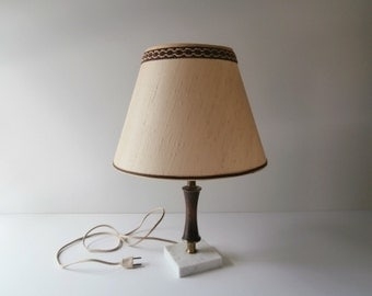 Ivory Ecru Lamp Shade, Natural Textured Lamp Shade, Small Clip-on Shade for Wood Lamp, 1970s Lamp Shade for Brown Table Lamp