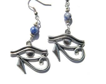 Eye Of Horus Wedjat Udjat Ra Earrings with Sodalite