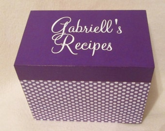 Recipe Box - Purple Polka Dot Wooden Recipe Box -  Handcrafted - Quality Woodwork - Personalized - Wedding Gift - Shower Gift