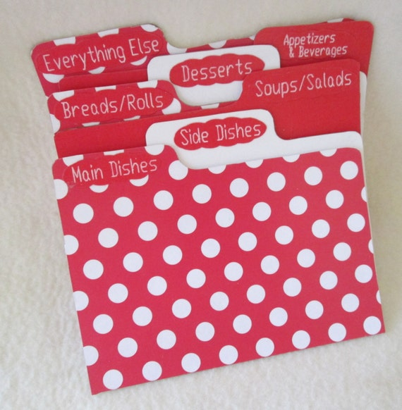 Recipe Card  Dividers for Red Polka Dot Recipe Box - Index Cards - Shower Gift