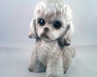 ADDITIONAL 10% OFF...SALE  Vintage Brown and Creme Large Poodle Bank Norleans Japan