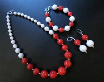 Handmade Necklace, Bracelet, Earrings Set, Vintage Upcycled Beads, Red n White, Silver Accents OOAK