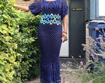 Lovely navy blue crochet dress, bamboo yarn, fishnet and pineapple design. Vintage crochet.