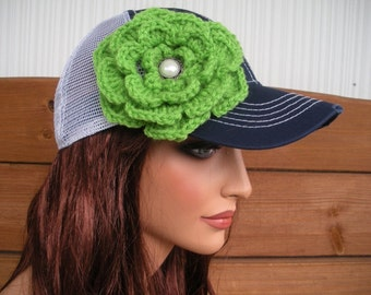 Womens Baseball Hat Baseball Cap Trucker Hat Accessories Women Team Seahawks Sport Hat in Blue and White with Green Crochet Flower