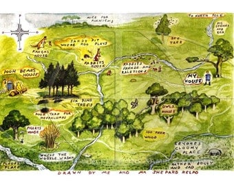 24x18 --Map of the Hundred Acre Woods - Winnie The Pooh by E.H. Shepard - Vintage Art Reproduction