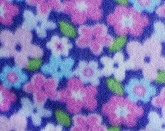 Spring Time Flower Print Fleece Fabric by the yard
